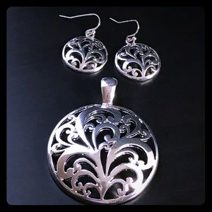 Silver Pendant w/ Matching Earrings